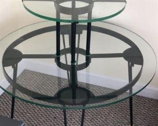 Glass and metal display table