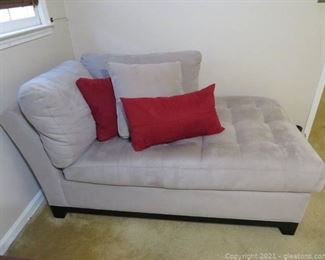 Beautiful Gray Suede Cindy Crawford Chaise Sofa