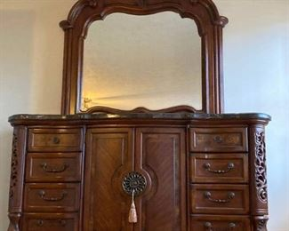 Exquisite Detailed Marble Topped Dresser with Mirror