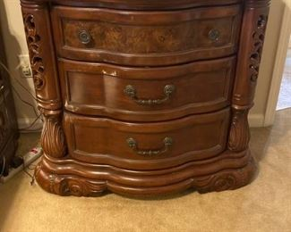 Exquisite Detailed Marble Topped Nightstand
