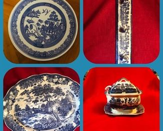Blue Willow plates, wall hanger, platters & soup tureen