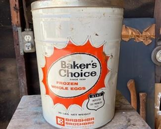 Vintage Baker's Choice Frozen Whole Eggs Tin Metal Canister Large