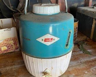 Vintage Coleman Turquoise & White 2 Gallon Water Jug Cooler