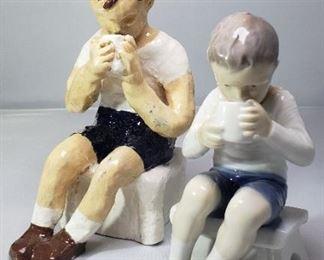 "B&G Royal Copenhagen Bing & Grondahl Figurine #1713 ""Victor"" and Amateur Artist Recreation"
