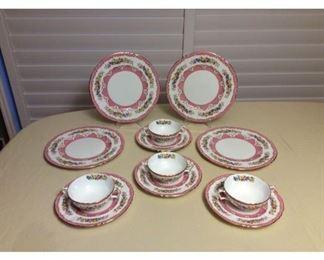 CCM003 Crown Staffordshire England Pink Floral Fine Bone China Set