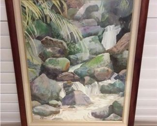"""CCM005 Large Wood Framed Tropical """"Waterfall"""" Print By Carli Oliver"""