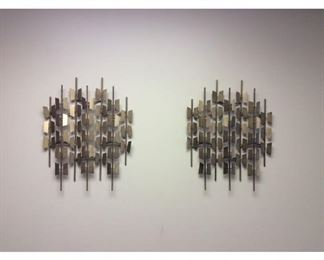 CCM009 Two Metal Brass Toned Abstract Wall Hangings