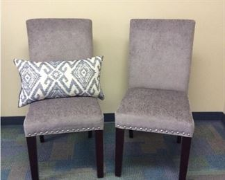 CCM012 Pair Of Grey Paisley Chenille Chairs