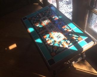 Turquoise tiled coffee table, antique