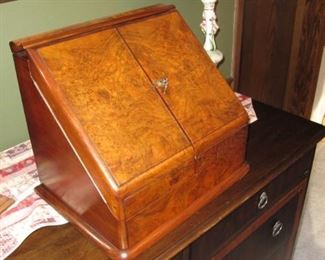 English Walnut Stationery Cabinet Writing Desk Military Army Navy Csl Makers Circa 1895