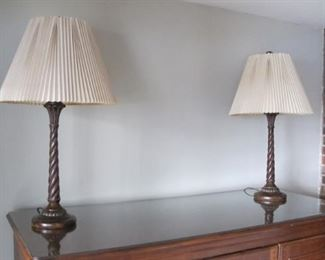 Matching lamps with 2 sets of shades including dragonfly pattern