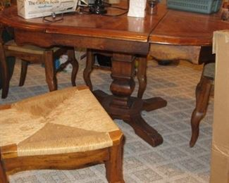 Dining table & thatch chairs