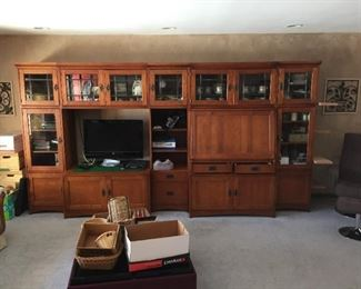 Elegant 5 piece Mission Style Wall unit.  three 22inch sections and two 44 inch sections all 78 in. tall