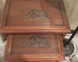 Nesting tables wood with asian inlay