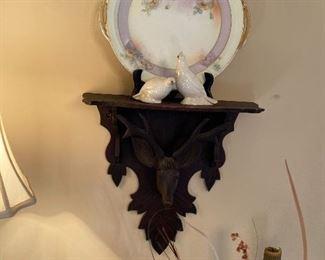 Antique deer carved shelf