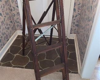 LADDER COULD BE USED FOR PLANT STAND, VINTAGE, ALL WOOD AND METAL