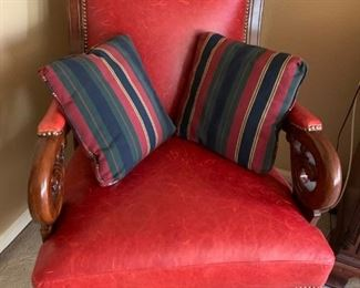 RED LEATHER ARM CHAIR