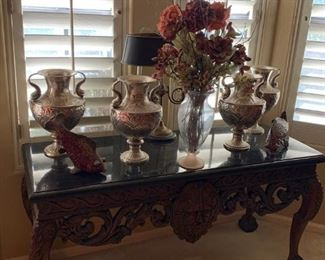 NICELY CARVED CONSOLE WITH FAUX MARBLE TOP