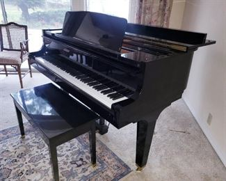 Beautiful Ebony Finish K. Kawai Baby Grand Piano 5 ft Model Kimball 425, GE-1, 1605883