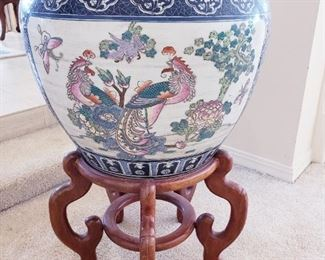 Asian Fish Bowl Planter with stand