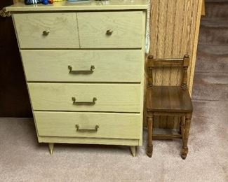 Vintage dresser and child's chair