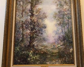 J POLEK 31x27 WALK IN THE WOODS OIL ON CANVAS