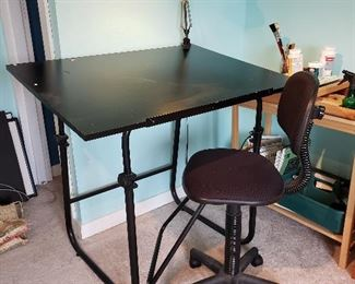 Nice artist's or drafting table with light and chair