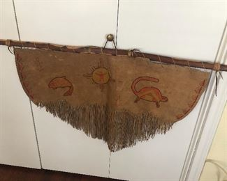 authentic native American all suede hanging artwork  a most unique find !