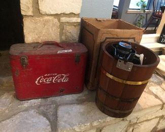 vintage coca cola cooler  -super clean inside see pic- wood ice cream maker w/ original box