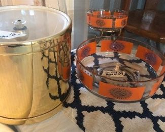 mid century chip  and dip- and retro gold ice bucket -