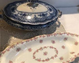 johnson bros flow blue- dorothy covered casserole SOLD FLOW BLUE   HAVE REST and  limoges  floral  piece