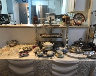 designer and custom items very hi end serving items-from restoration hardware and similar places- along w/ limoges -arthur court- wedgewood- and more