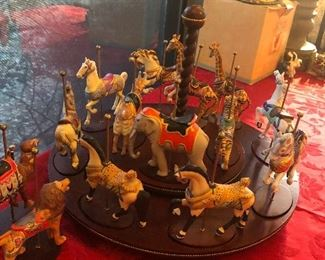 large collectible animal carousel  w/ extra's