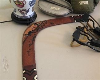 boomerang and military items- old toys  ...