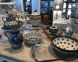 polish pottery items  cheese lady- tea pot -and several bowls