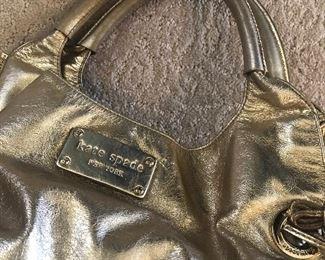 gold kate spade leather bag