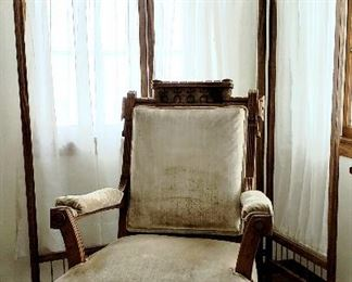Folding screen & Victorian arm chair