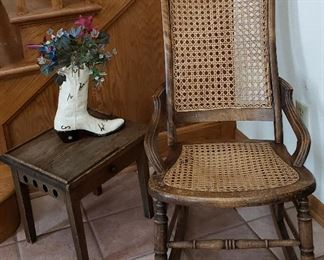 Caned rocker & small table