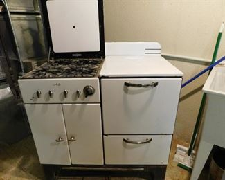 A B Vintage Porcelain Stove with Oven & Storage