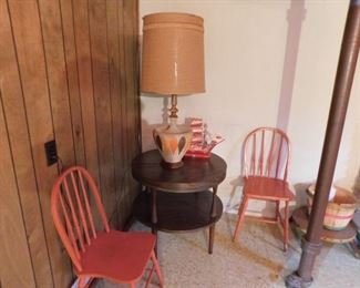 End Table, Lamp, wood Chairs