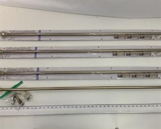 4 silver curtain rods