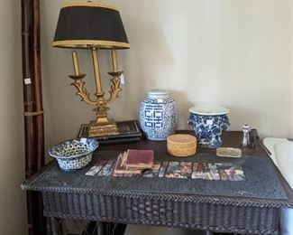 Wicker desk. Lots of blue and white