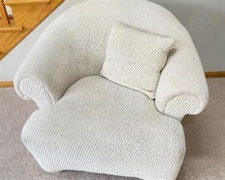 """White armchair- 40""""D x 36""""W x 32"""" back height"""
