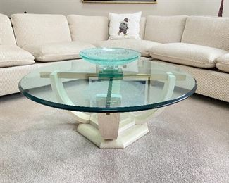 "Glass coffee table- 40"" diameter x 16""H"