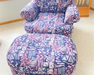"""Purple armchair and ottoman- 38""""D x 36""""W x 31"""" back height, footstool 21""""D"""