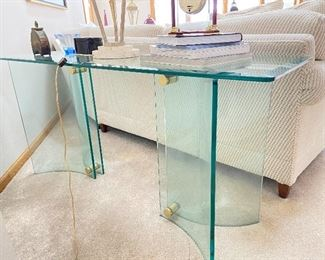 "Glass sofa table (2)- 18""W x 54""L x 25""H"