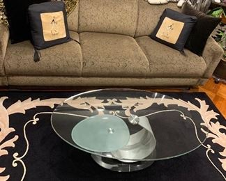 Like new couch, marble base glass table with movable shalf