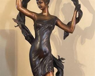 Art Nouveau cast statue