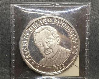 1 Ounce .999 Fine Silver FRANKLIN DELANO ROOSEVELT Silver Bullion Round Coin