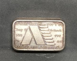 1 Troy Ounce .999 Fine Silver A MARK Silver Bullion Bar From Estate Collection